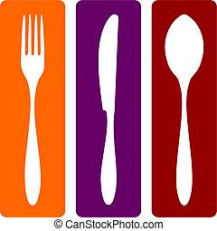 nóż, łyżka, widelec