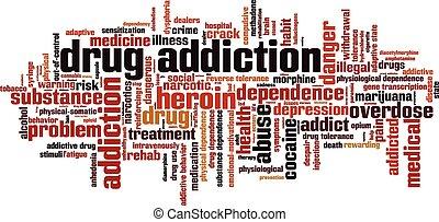 nałóg, słowo, narkotyk, chmura
