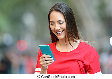 naście, błękitny, telefon, ulica, czerwony, używając, mądry