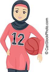 naście, koszykówka, muslim, ilustracja, gracz, dziewczyna