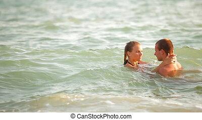 naście, lato, para, plażowe zwolnienie