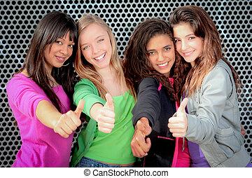naście, pokaz, dziewczyny, do góry, rozmaity, kciuki, szczęśliwy