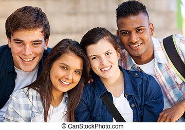 naście, studenci, szkoła, grupa, wysoki