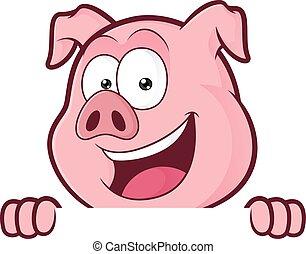 na, świnia, patrząc, deska, dzierżawa, okienko znaczą