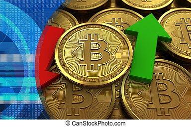 na dół, 3d, strzały, do góry, bitcoin