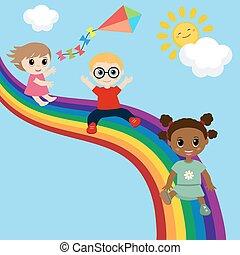 na dół, poślizg, rainbow., dzieci