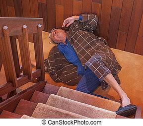 na dół, schody, właśnie, starszy człowiek, skóra