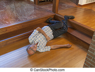 na dół, senior, skóra, schody, człowiek