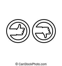 na dół, styl, szkic, do góry, pikolak, kciuki, ikona