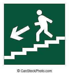 na dół, symbol, chodzenie, schody, człowiek