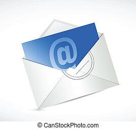 na, kontakt, projektować, ilustracja, wiadomość, email