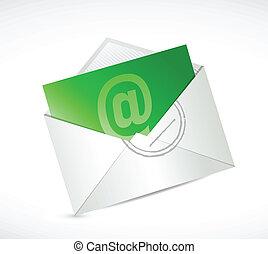 na, kontakt, zielony, ilustracja, projektować, email