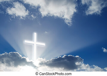 na, krzyż, niebo, chrześcijanin, słoneczny, piękny