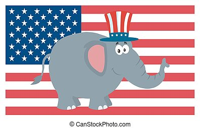 na, litera, bandera, usa, słoń