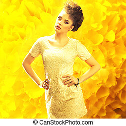 na, młody, żółte tło, świeży, dama