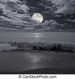 na, pełny, ocean., księżyc