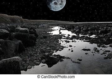 na, pełny, plaża, skalisty, księżyc