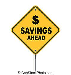 na przodzie, ilustracja, znak, oszczędności, droga, 3d