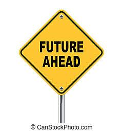 na przodzie, ilustracja, znak, przyszłość, droga, 3d