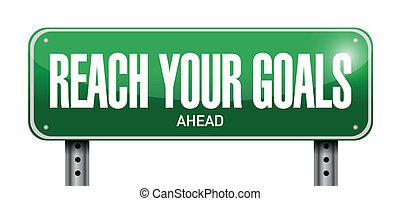 na przodzie, osiągać, ilustracja, znak, projektować, cele, twój