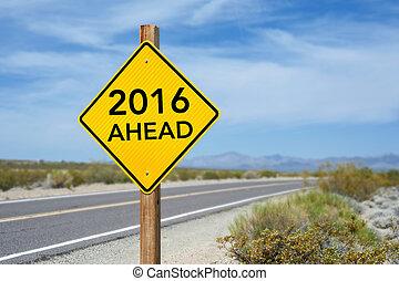 na przodzie, znak, rok, nowy, 2016, droga