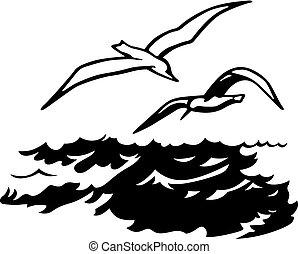 na, ptaszki, morze
