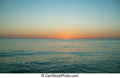 na, wieczorny, zachód słońca, morze