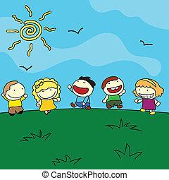 na wolnym powietrzu, dzieci, tło, szczęśliwy