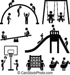na wolnym powietrzu, park, dzieci, plac gier i zabaw