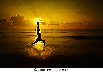 na wolnym powietrzu, yoga, kobieta, sylwetka
