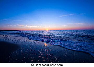 na, zachód słońca, sea.