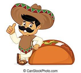 nachylenie, meksykanin, rysunek, człowiek, taco