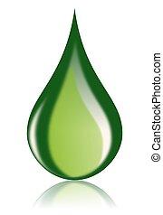 nafta, opał, ikona, kropla, zielony, bio