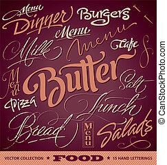 nagłówki, menu, komplet, (vector), jadło