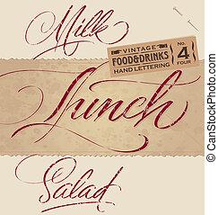 nagłówki, (vector), komplet, menu, rocznik wina