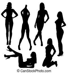 nagi, sexy, sylwetka, komplet, kobiety