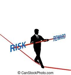 nagroda, ryzyko, handlowy, linoskoczek, waga, człowiek