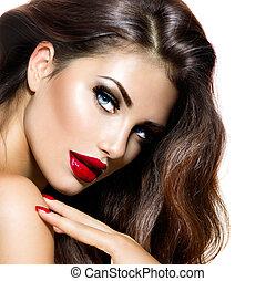 nails., piękno, makijaż, usteczka, sexy, dziewczyna, czerwony, prowokacyjny