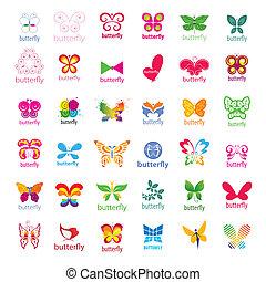 najpoważniejszy, logos, motyle, wektor, zbiór