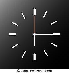 nakręcać, time., ściana, pokaz, zegarowe ręki