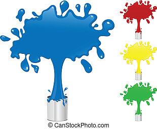 namalujcie bryzg, buckets., żółta zieleń, błękitny, czerwony