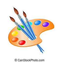 namalujcie paletę, szczotka sztuki, rysunek