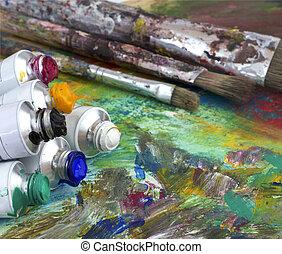 namalujcie paletę, szczotki, kolor, artysta