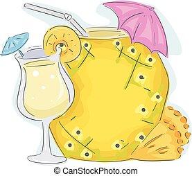 napój, deska, ananas