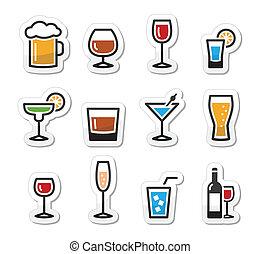 napój, komplet, alkohol, napój, ikony