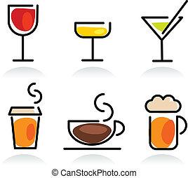 napój, komplet, barwny, ikona
