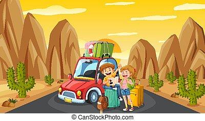 napędowy, turysta, zachód słońca, droga, scena