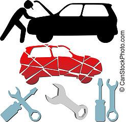 naprawa, komplet, utrzymanie, auto, symbol, mechanik, wóz
