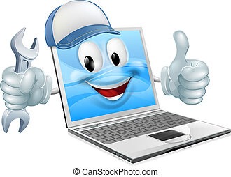 naprawa, laptop komputer, rysunek, maskotka