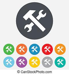 naprawa, służba, instrument, symbol., znak, icon.
